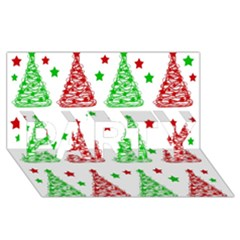 Decorative Christmas Trees Pattern   White Party 3d Greeting Card (8x4) by Valentinaart