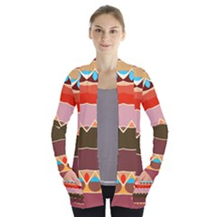 Waves And Other Shapes                 Women s Open Front Pockets Cardigan