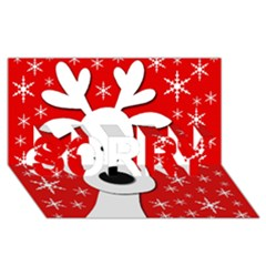 Christmas Reindeer   Red Sorry 3d Greeting Card (8x4) by Valentinaart