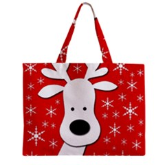 Christmas Reindeer   Red Zipper Mini Tote Bag by Valentinaart
