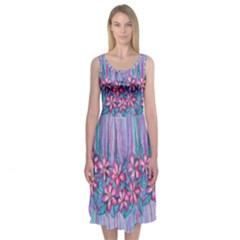 Watercolor flowers Midi Sleeveless Dress by Contest2242749