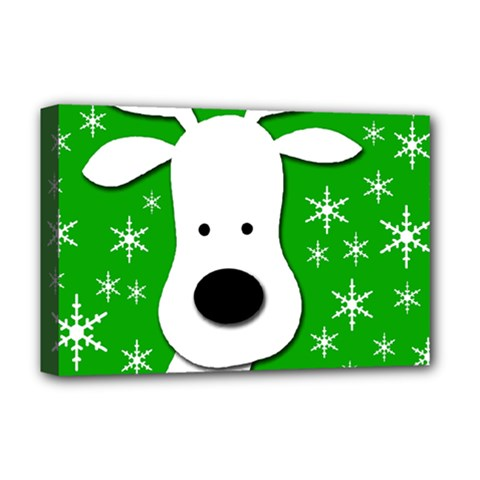 Christmas Reindeer   Green Deluxe Canvas 18  X 12   by Valentinaart