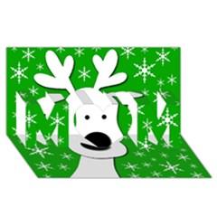 Christmas Reindeer   Green Mom 3d Greeting Card (8x4) by Valentinaart