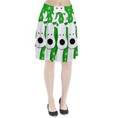Christmas Reindeer   Green Pleated Skirt