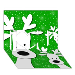 Christmas Reindeer   Green 2 I Love You 3d Greeting Card (7x5) by Valentinaart