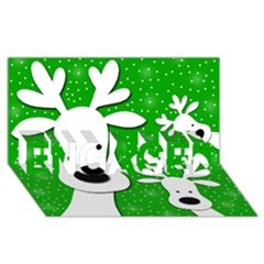 Christmas Reindeer   Green 2 Engaged 3d Greeting Card (8x4)