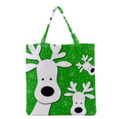 Christmas Reindeer   Green 2 Grocery Tote Bag by Valentinaart