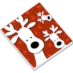 Christmas Reindeer   Red 2 Small Memo Pads by Valentinaart