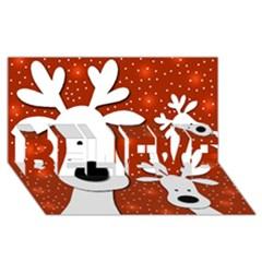 Christmas Reindeer   Red 2 Believe 3d Greeting Card (8x4)
