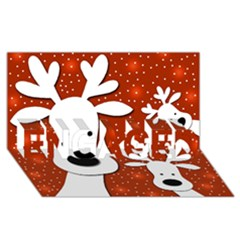 Christmas Reindeer   Red 2 Engaged 3d Greeting Card (8x4)