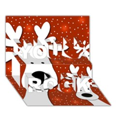Christmas Reindeer   Red 2 You Rock 3d Greeting Card (7x5) by Valentinaart