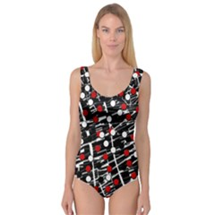 Red And White Dots Princess Tank Leotard
