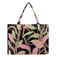 Pink And Ocher Ivy Medium Tote Bag by Valentinaart