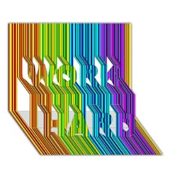 Colorful Lines Work Hard 3d Greeting Card (7x5) by Valentinaart