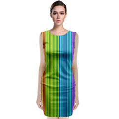 Colorful Lines Classic Sleeveless Midi Dress by Valentinaart