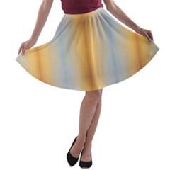 Blue Yellow Summer Pattern A Line Skater Skirt