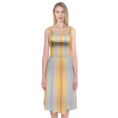 Blue Yellow Summer Pattern Midi Sleeveless Dress by Costasonlineshop