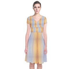 Blue Yellow Summer Pattern Short Sleeve Front Wrap Dress