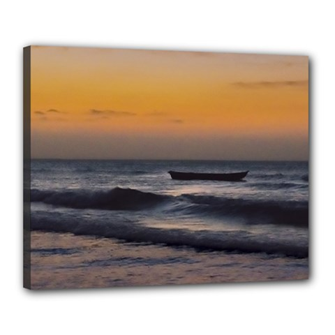 Small Boat At Sea Jericoacoara Brazil Canvas 20  X 16  by dflcprints