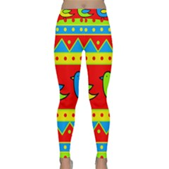 Birds Pattern Yoga Leggings  by Valentinaart