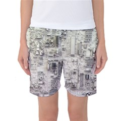 White Technology Circuit Board Electronic Computer Women s Basketball Shorts by Zeze