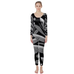 Gray Plant Design Long Sleeve Catsuit by Valentinaart