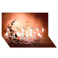 Wonderful Flowers In Soft Colors With Bubbles Sorry 3d Greeting Card (8x4)