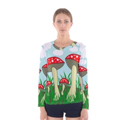 Mushrooms  Women s Long Sleeve Tee by Valentinaart