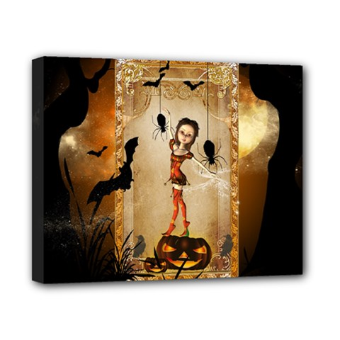 Halloween, Cute Girl With Pumpkin And Spiders Canvas 10  X 8  by FantasyWorld7