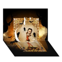 Halloween, Cute Girl With Pumpkin And Spiders Apple 3d Greeting Card (7x5)