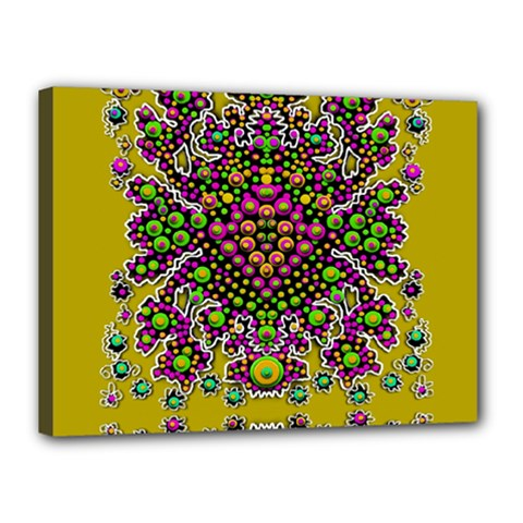 Fantasy Flower Peacock With Some Soul In Popart Canvas 16  X 12  by pepitasart