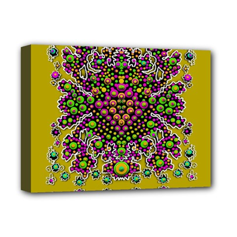 Fantasy Flower Peacock With Some Soul In Popart Deluxe Canvas 16  X 12   by pepitasart