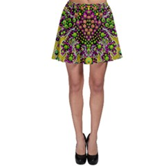 Fantasy Flower Peacock With Some Soul In Popart Skater Skirt by pepitasart