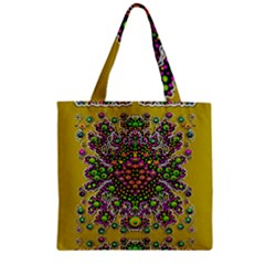 Fantasy Flower Peacock With Some Soul In Popart Zipper Grocery Tote Bag by pepitasart