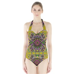 Fantasy Flower Peacock With Some Soul In Popart Halter Swimsuit by pepitasart
