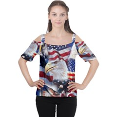 United States Of America Images Independence Day Women s Cutout Shoulder Tee by Zeze