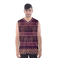 Ulos Suji Traditional Art Pattern Men s Basketball Tank Top by Zeze