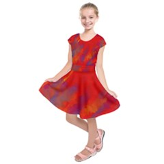 Smudges In Red Kids  Short Sleeve Dress