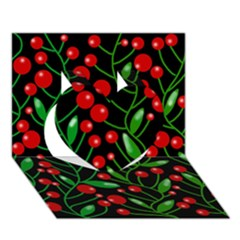 Red Christmas Berries Heart 3d Greeting Card (7x5) by Valentinaart