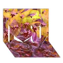 Falling Autumn Leaves I Love You 3d Greeting Card (7x5) by Contest2489503