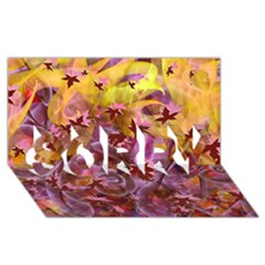 Falling Autumn Leaves Sorry 3d Greeting Card (8x4) by Contest2489503