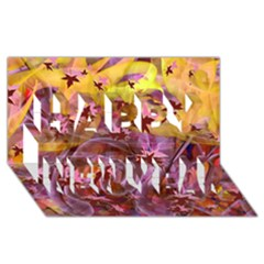 Falling Autumn Leaves Happy New Year 3d Greeting Card (8x4) by Contest2489503