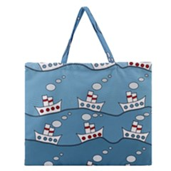 Boats Zipper Large Tote Bag by Valentinaart