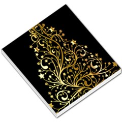 Decorative Starry Christmas Tree Black Gold Elegant Stylish Chic Golden Stars Small Memo Pads by yoursparklingshop