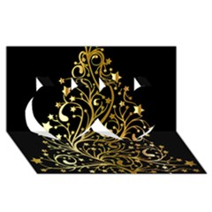 Decorative Starry Christmas Tree Black Gold Elegant Stylish Chic Golden Stars Twin Hearts 3d Greeting Card (8x4) by yoursparklingshop