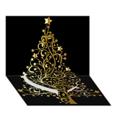 Decorative Starry Christmas Tree Black Gold Elegant Stylish Chic Golden Stars Heart Bottom 3d Greeting Card (7x5) by yoursparklingshop