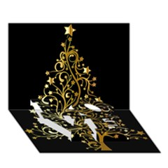 Decorative Starry Christmas Tree Black Gold Elegant Stylish Chic Golden Stars Love Bottom 3d Greeting Card (7x5) by yoursparklingshop