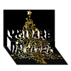 Decorative Starry Christmas Tree Black Gold Elegant Stylish Chic Golden Stars You Are Invited 3d Greeting Card (7x5) by yoursparklingshop