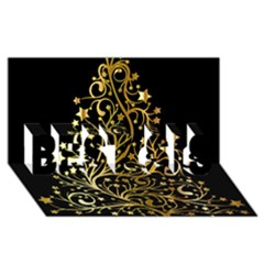 Decorative Starry Christmas Tree Black Gold Elegant Stylish Chic Golden Stars Best Sis 3d Greeting Card (8x4) by yoursparklingshop