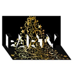 Decorative Starry Christmas Tree Black Gold Elegant Stylish Chic Golden Stars Party 3d Greeting Card (8x4) by yoursparklingshop